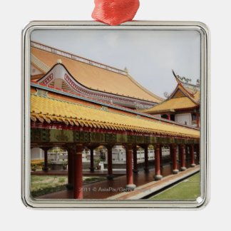 Buddhist temple grounds Silver-Colored square ornament