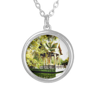 BUDDHIST TEMPLE SILVER PLATED NECKLACE