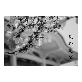 Buddhist Temple White Flowers All is Vanity B & W Poster