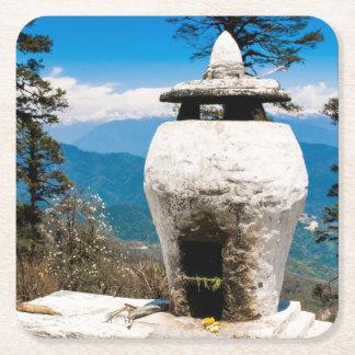 Buddhist Worship Site Square Paper Coaster