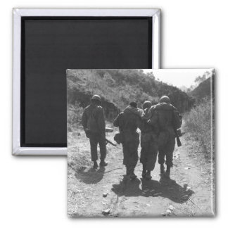 Buddies aid wounded man of 24th Inf._War Image Square Magnet