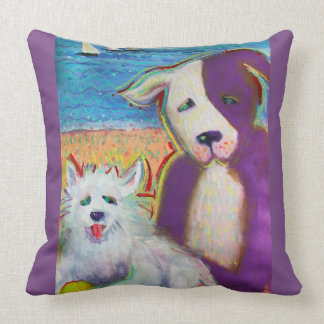 Buddies by the sea throw pillow