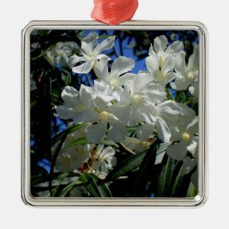 Budding Blossoms Silver-Colored Square Ornament