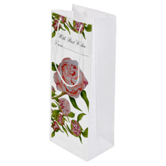 Budding Peonies on Custom Gift Bag for Wine Bottle