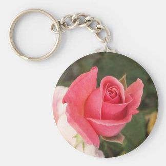 Budding Pink Rose Basic Round Button Keychain
