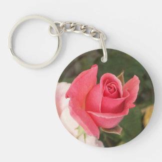 Budding Pink Rose Double-Sided Round Acrylic Keychain