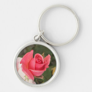 Budding Pink Rose Silver-Colored Round Keychain