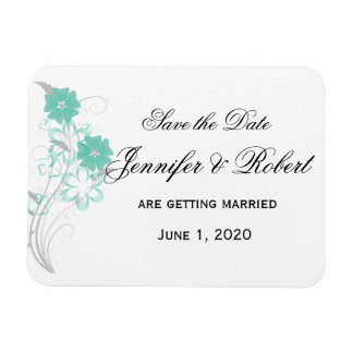 Budding Romance in Aqua Save the Date Rectangle Magnet