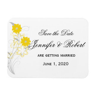 Budding Romance in Yellow Save the Date Rectangular Photo Magnet