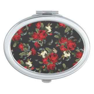 BUDDING ROSE BABY BREATH FLORAL PATTERN MIRROR MIRRORS FOR MAKEUP