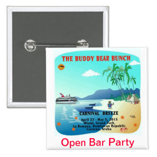 Buddy Bears Open Bar Party 2 Inch Square Button