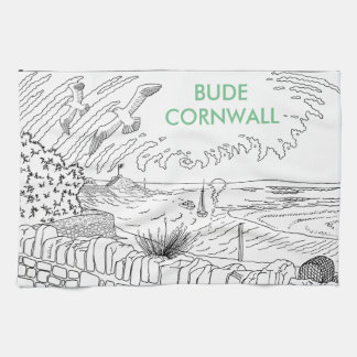 Bude Cornwall Cololuring book apparel - Breakwater Kitchen Towel