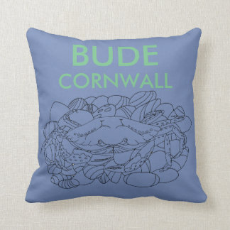 Bude Cornwall Cololuring book - Shore Crab (blue) Throw Pillow