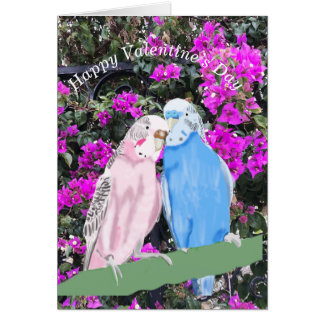 Budgerigar and Bourganvillia Card