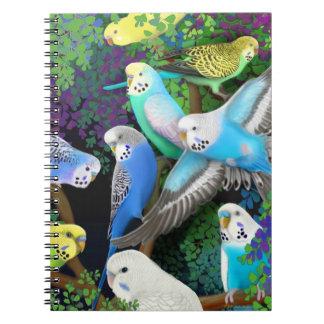 Budgerigar Parrots in Ferns Notebook