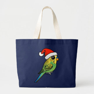 Budgerigar Santa Claus Large Tote Bag