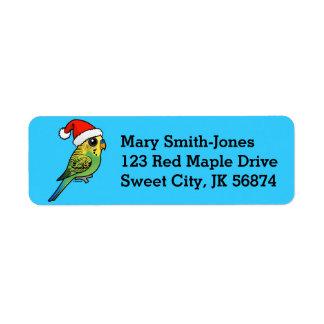 Budgerigar Santa Claus Return Address Label