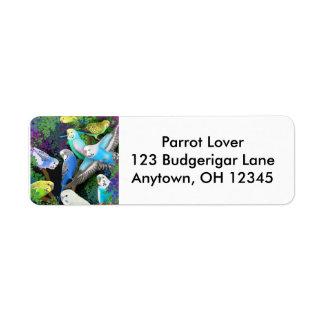 Budgerigars in Ferns Label