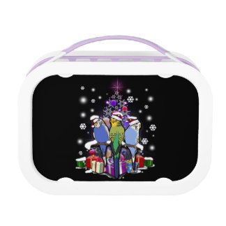 Budgerigars with Christmas Gift and Snowflakes Lunch Box