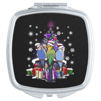 Budgerigars with Christmas Gift and Snowflakes Makeup Mirror