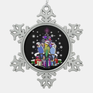 Budgerigars with Christmas Gift and Snowflakes Snowflake Pewter Christmas Ornament