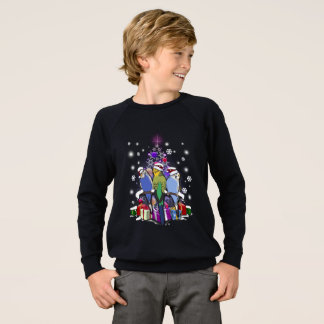 Budgerigars with Christmas Gift and Snowflakes Sweatshirt