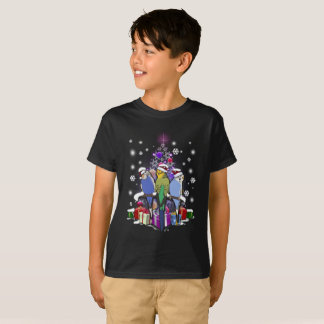 Budgerigars with Christmas Gift and Snowflakes T-Shirt