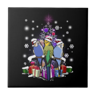 Budgerigars with Christmas Gift and Snowflakes Tile