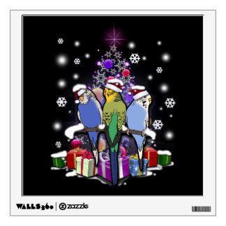 Budgerigars with Christmas Gift and Snowflakes Wall Decal