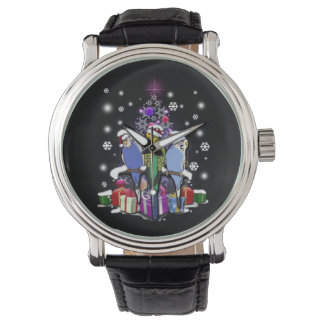 Budgerigars with Christmas Gift and Snowflakes Watch