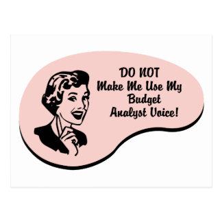 Budget Analyst Voice Postcard