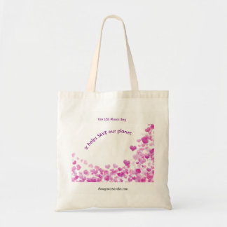 Budget Tote Bag with Pink Hearts Design