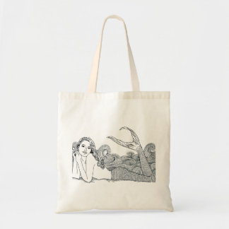 Budget Tote Curly Wave Mermaid wht.