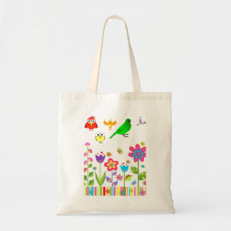 Budget tote handbag bird lovers paradise white