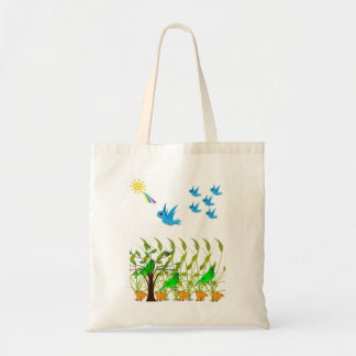 Budget tote handbag flying blue birds lovers white