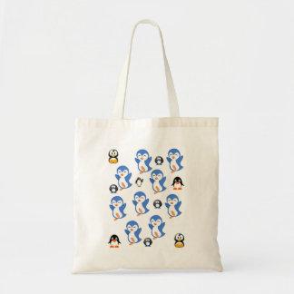 Budget tote handbag penguin white blue yellow