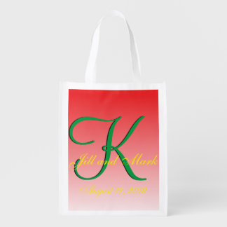 Budget Wedding Red Reusable Grocery Bags