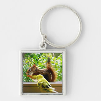 Budgie and Red Squirrel Keychain