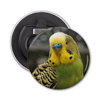 Budgie Bird Button Bottle Opener
