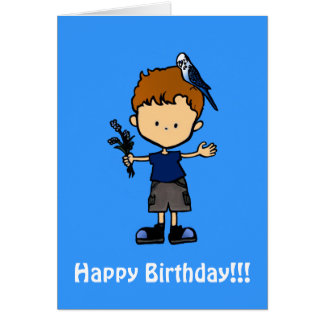 Budgie Boy Birthday Card (C112b3)