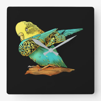Budgie Budgerigar Dabbing Square Wall Clock