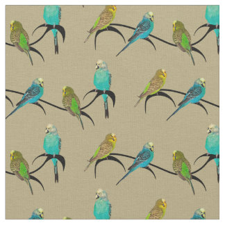 Budgie Frenzy Fabric (Gold)