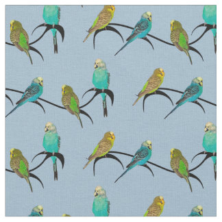 Budgie Frenzy Fabric (Light Blue)