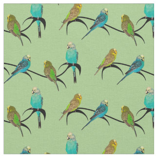 Budgie Frenzy Fabric (Light Green)