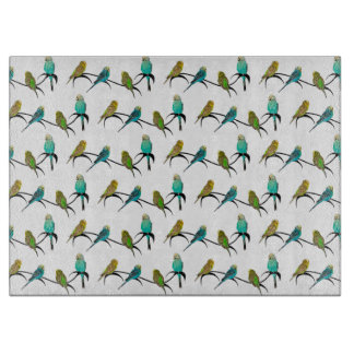 Budgie Frenzy Glass Cutting Board (choose colour)