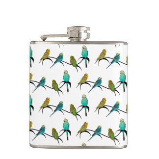 Budgie Frenzy Hip Flask (choose colour)