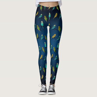Budgie Frenzy Leggings (Navy Blue Mix)