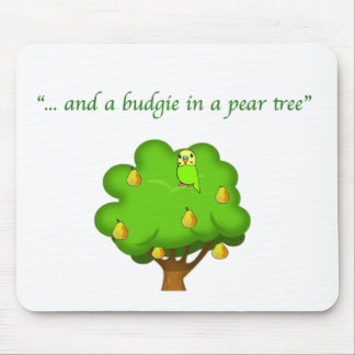 Budgie in a Pear Tree Mouse Pad