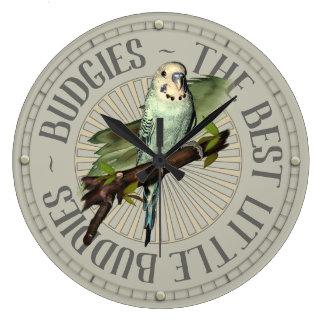 Budgie Love Large Clock