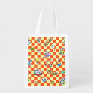 Budgie parrot pattern reusable grocery bag